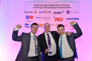 Picture L to R Joe Pierce - Apprentice Welder, Mick Heatlie - Training and Development Manager, Tom Chisum – Apprentice Plater