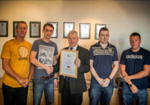 Shown above are Stuart Boddye, Jake Briggs, Lawrence Redgraves and Max Stockley with David Billington, Managing Director and the IOSH Certificate of Recognition.