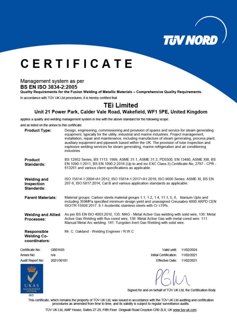 BS EN ISO 3834-2:2005